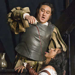 Jana Sýkorová as Maddalena, Woo Kyung Kim as Duke of Mantua - opera Rigoletto (Verdi) 3rd Act, Royal Opera House, Covent Garden, 07/2007 © Clive Barda